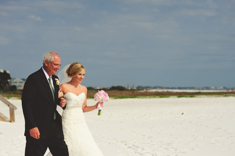 siesta key backyard wedding: precessional