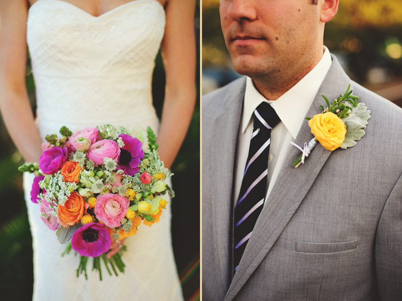 Winter Park Famers Market Wedding: bouquet and boutonniere