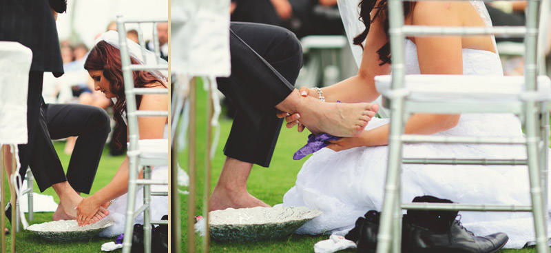 lakewood ranch wedding: bride washing grooms feet