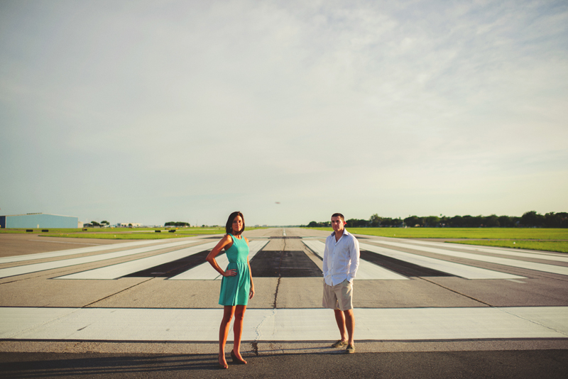 romantic airport engagement session: posing