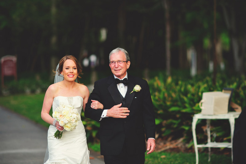 ringling museum wedding: father walking bride down aisle
