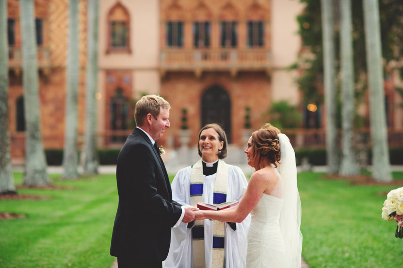 ringling museum wedding: smiling at the alter