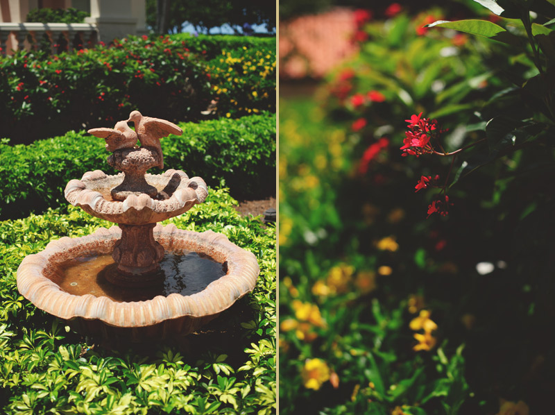 naples backyard beach wedding: fountain and foliage