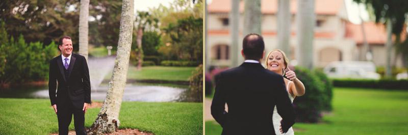 naples backyard beach wedding: bride and groom first look hug
