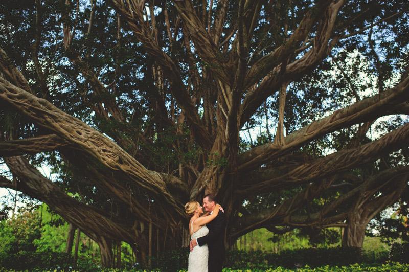 naples backyard beach wedding: bride and groom banyan tree