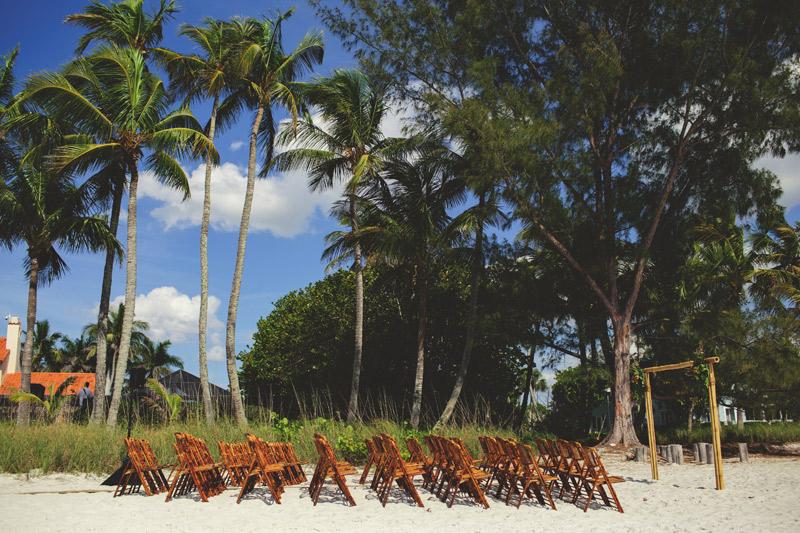 naples backyard beach wedding: ceremony site
