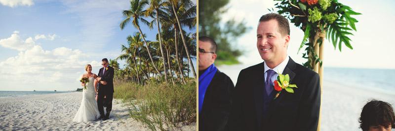 naples backyard beach wedding: father walking bride down isle