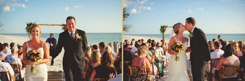 naples backyard beach wedding: bride and groom recessional