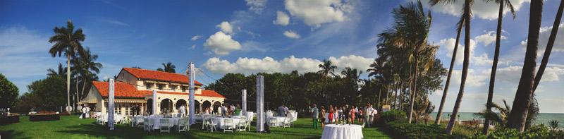 naples backyard beach wedding: cocktail hour venue