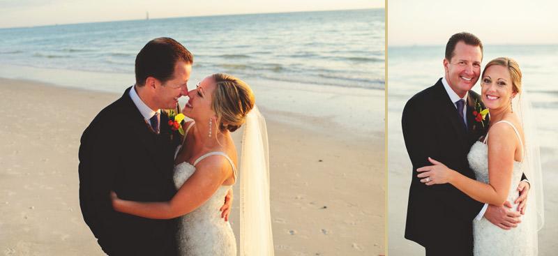 naples backyard beach wedding: bride and groom portrait on the beach