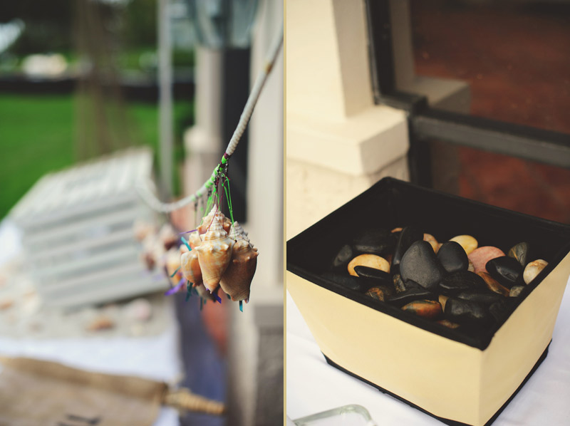 naples backyard beach wedding: shells, rocks