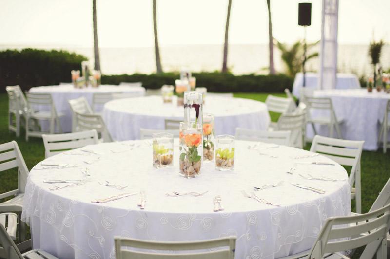 naples backyard beach wedding: flowers, details, table