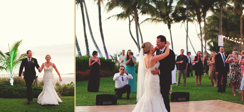 naples backyard beach wedding: bride and groom first dance
