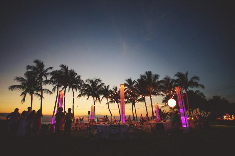 naples backyard beach wedding: sunset reception