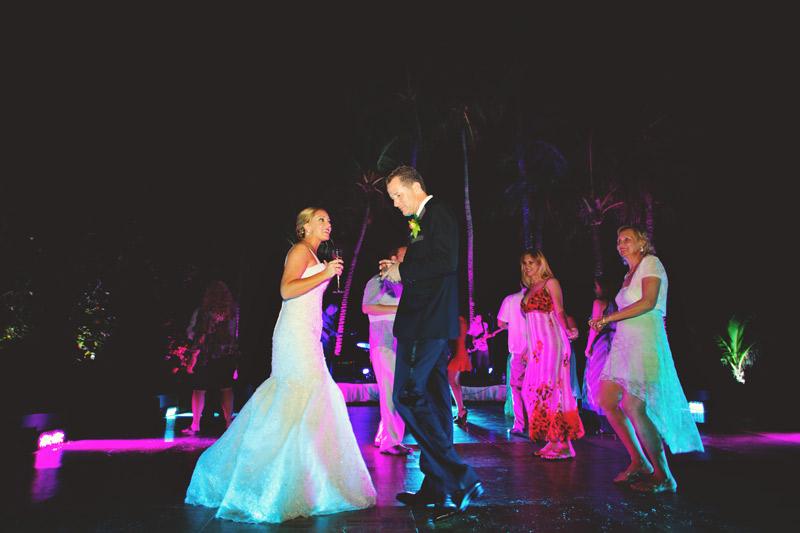 naples backyard beach wedding: reception dancing bride and groom