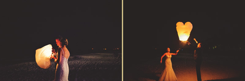 naples backyard beach wedding: groom lighting lantern