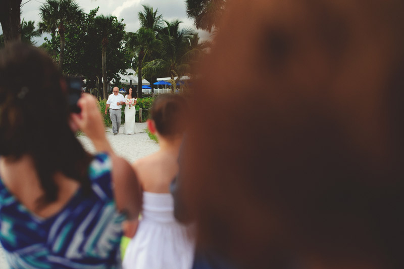sanibel island wedding: bride walking down aisle