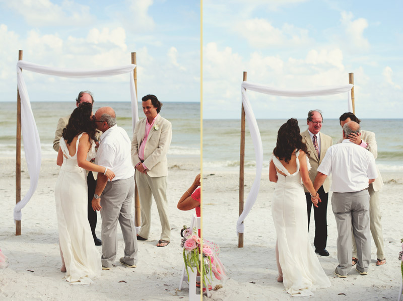 sanibel island wedding: father kissing bride