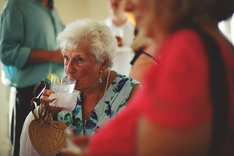 sanibel island wedding: grandma drinking