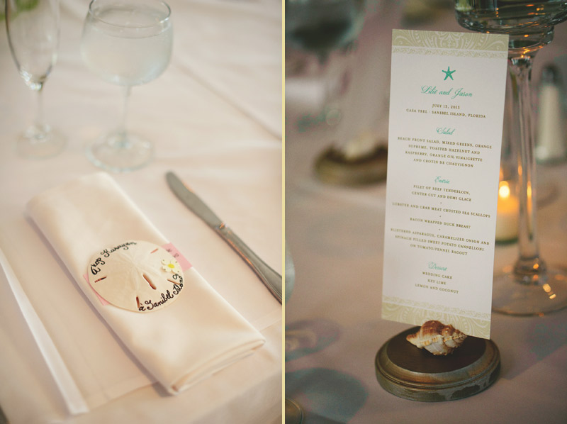sanibel island wedding: place cards and menus