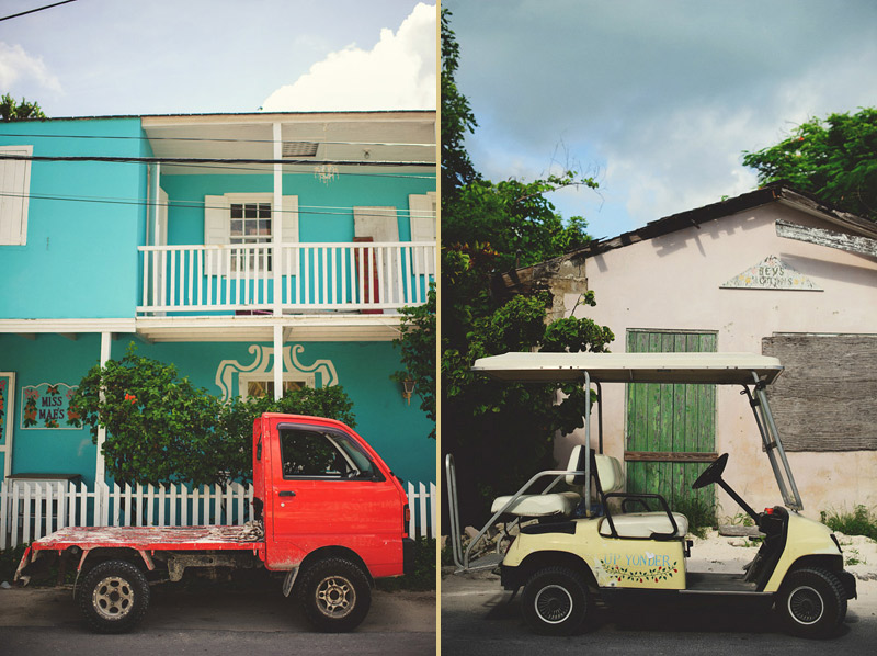 harbour island bahamas wedding: red truck and golf cart