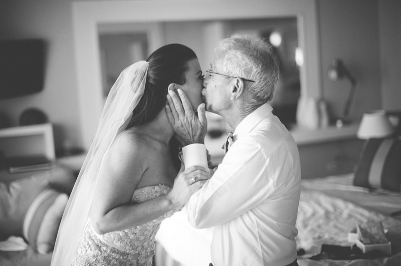 harbour island bahamas wedding: father kissing bride