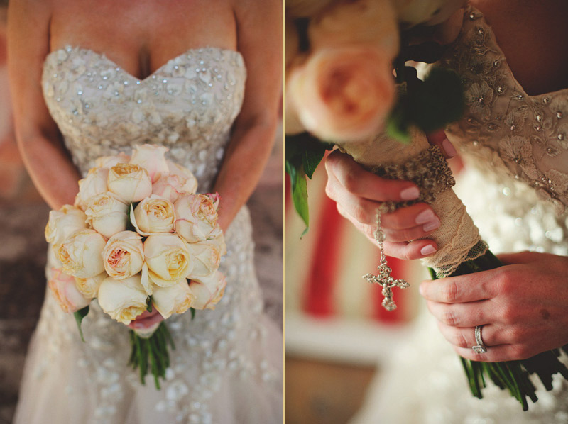 harbour island bahamas wedding: brides bouquet and rosary