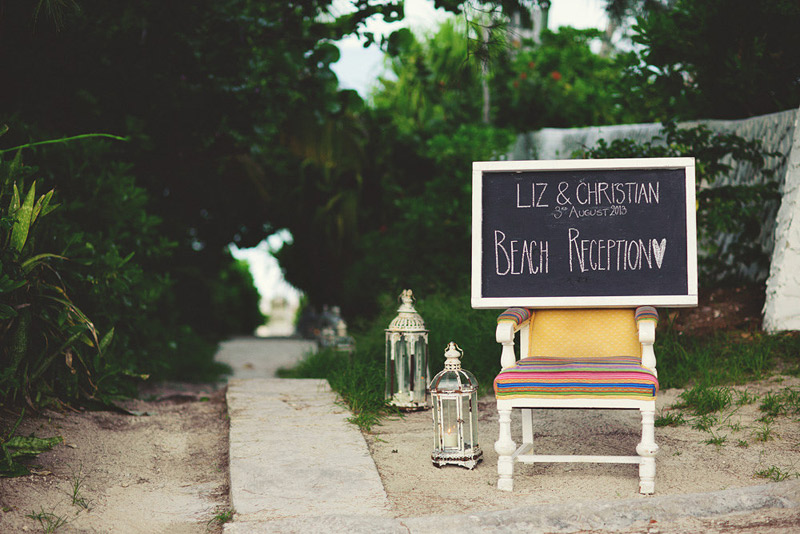 harbour island bahamas wedding: reception entrance chalkboard sign