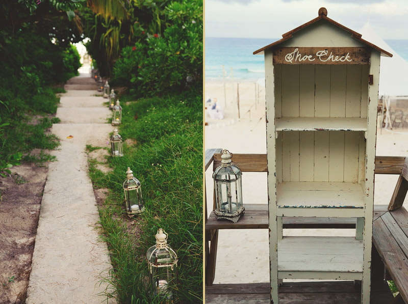harbour island bahamas wedding: reception path and shoe check