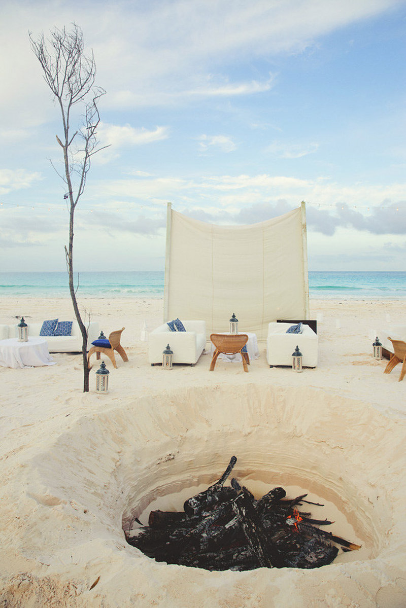 harbour island bahamas wedding: fire pit