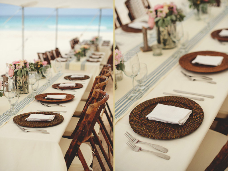 harbour island bahamas wedding: bamboo chargers