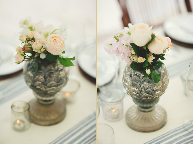 harbour island bahamas wedding: garden rose center pieces