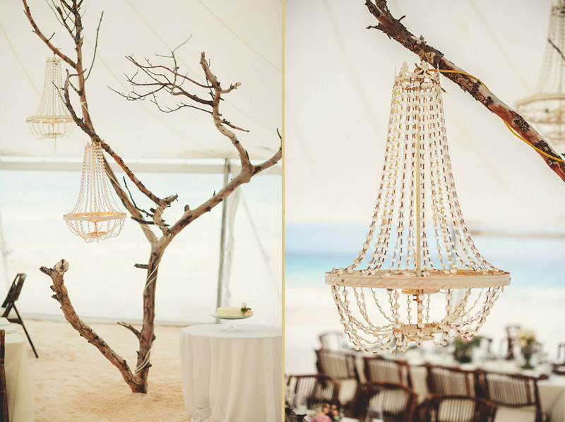 harbour island bahamas wedding: tree in sand with chandelier