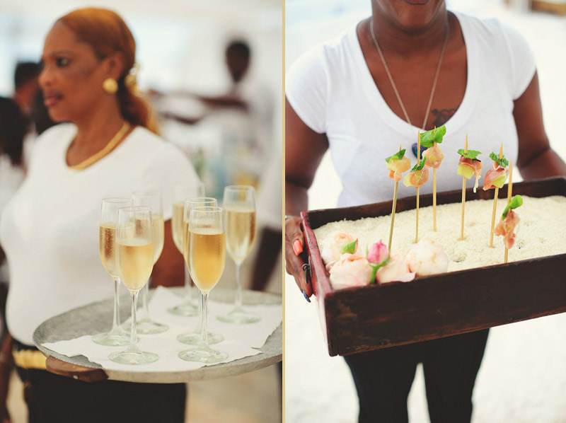 harbour island bahamas wedding: champagne and appetizers