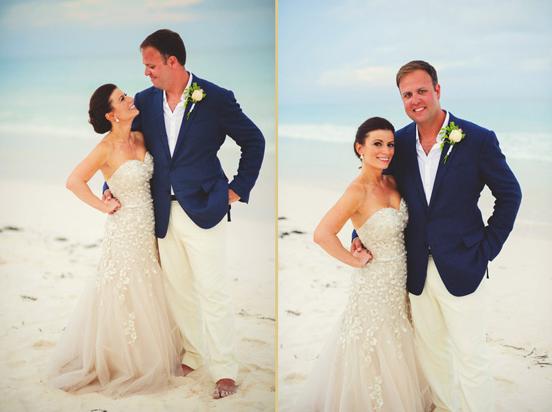 harbour island bahamas wedding: bride and groom beach portraits