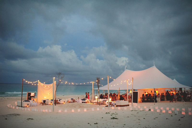 harbour island bahamas wedding: reception at dusk