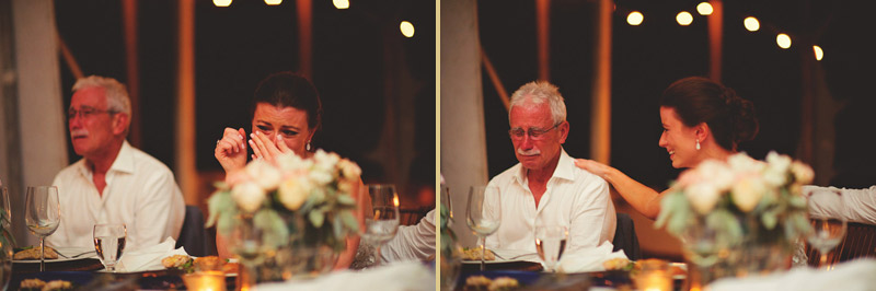 harbour island bahamas wedding: bride and father crying