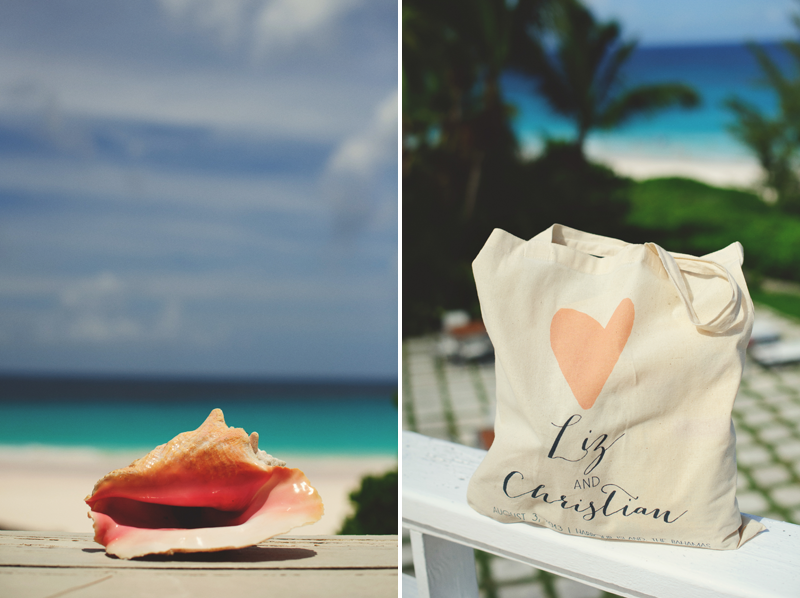harbour island bahamas wedding: conch shell and welcome bag