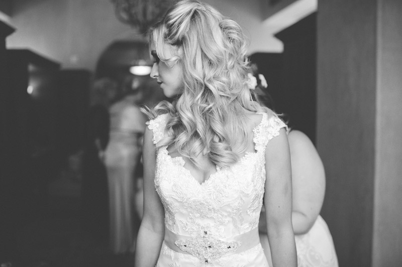 bella collina wedding: bride getting dressed