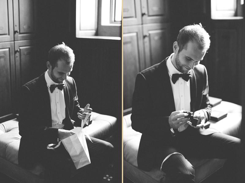 bella collina wedding: grooms gift