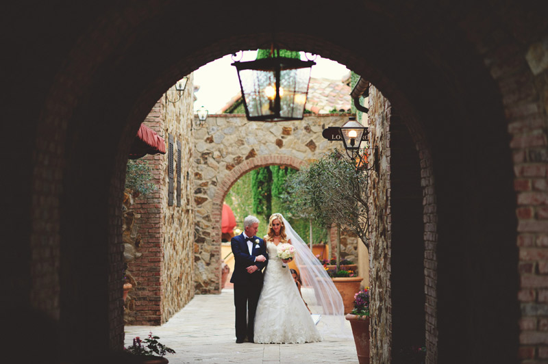 bella collina wedding: bride and father