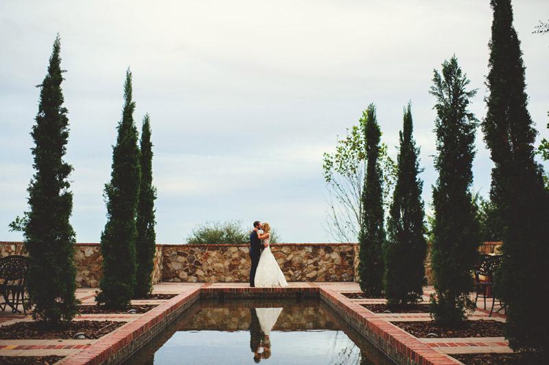 bella collina wedding: reflecting pool portrait