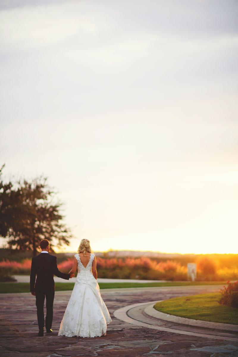bella collina wedding: walking towards sunset
