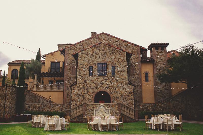 bella collina wedding: reception on lawn