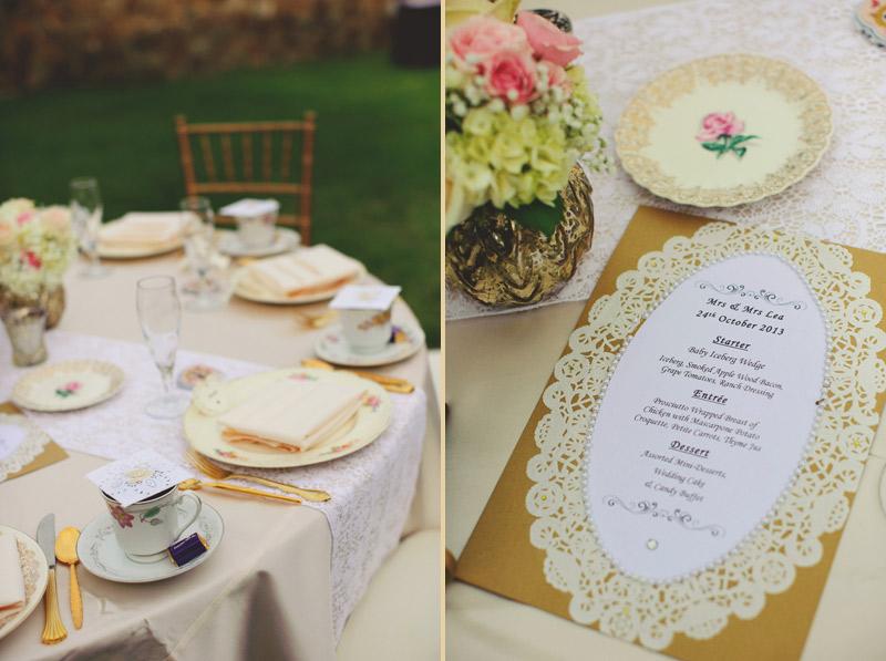 bella collina wedding: menu