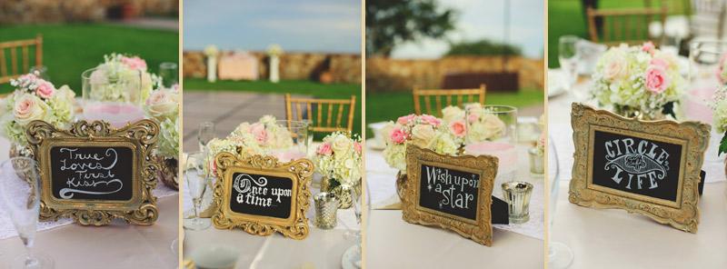 bella collina wedding: table signs