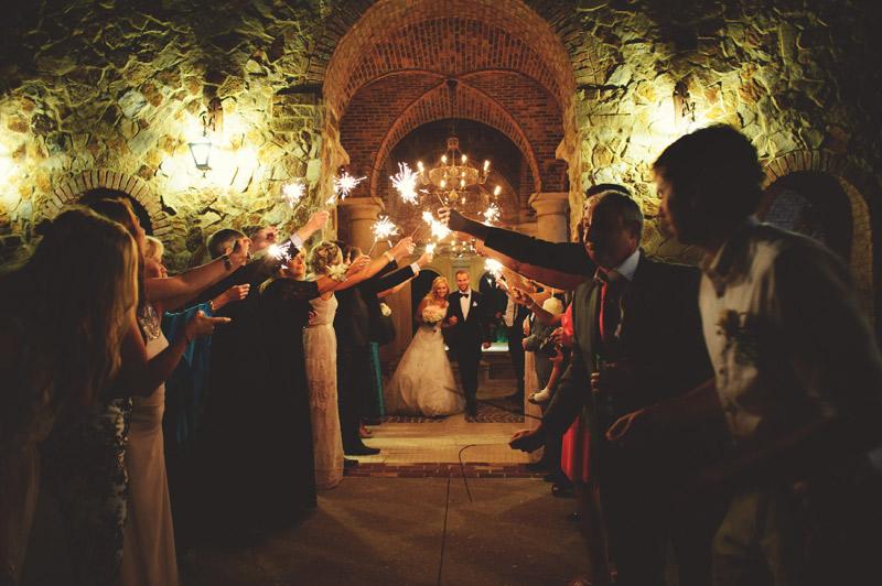 bella collina wedding: sparkler sendoff