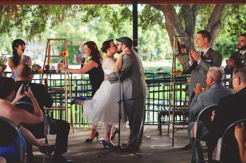 winter park farmers market wedding: first kiss