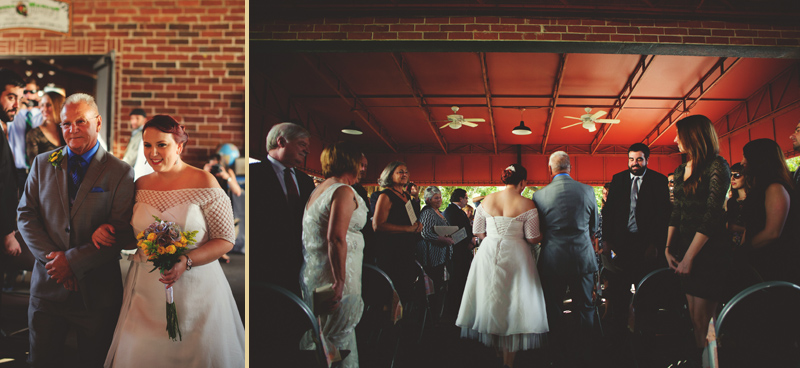 winter park farmers market wedding: bride walking down aisle