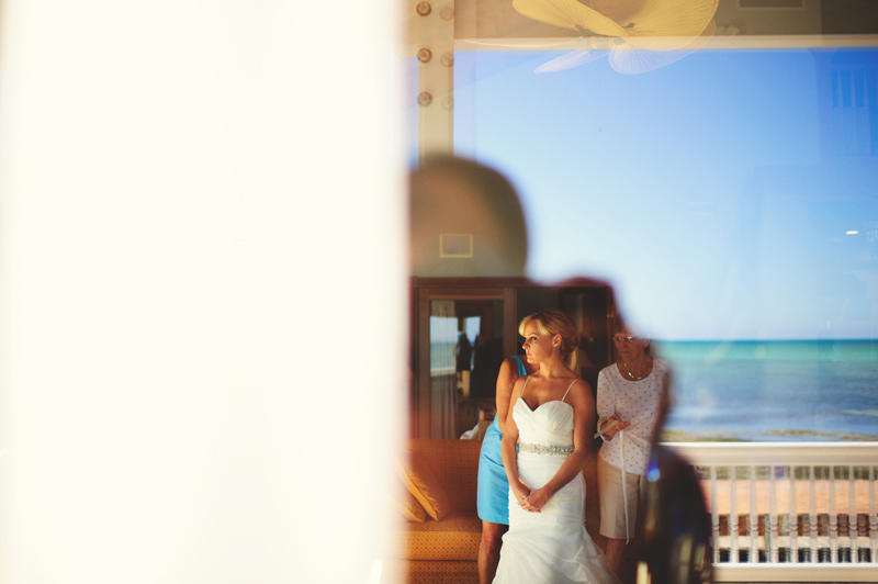 caribbean resort wedding: artistic shot of bride getting ready